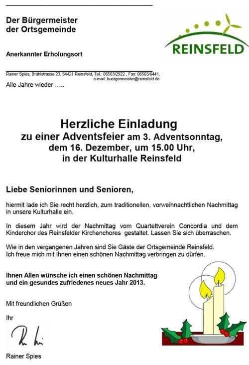reinsfeld: archiv aktuell 2012, Einladung